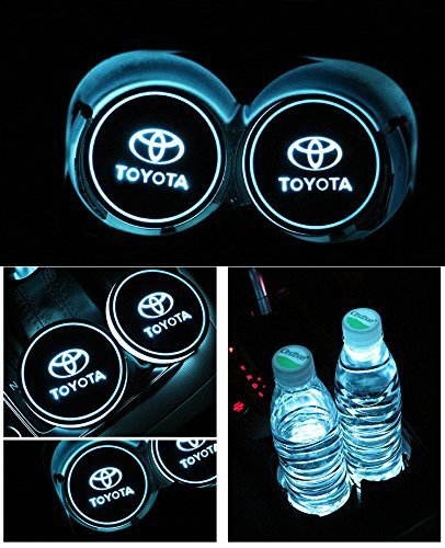 Sunauto Car Logo LED Cup Pad led cup coaster USB Charging Mat Luminescent Cup Pad LED Mat Interior Atmosphere Lamp Decoration Light (Toyota)