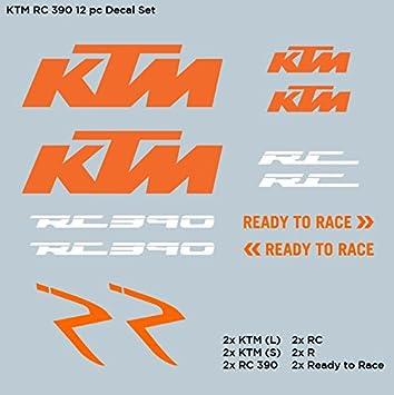 Set of 12 ktm rc390 390 racing decals stickers set die cut vinyl free ship