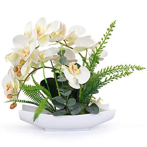 Yobansa Orchid Bonsai Artificial Flowers With Imitation Porcelain Flower Pots Phalaenopsis Fake Flowers Arrangements For Home Decoration White 1 Buy Online In Aruba At Aruba Desertcart Com Productid 90700479