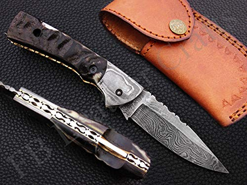(FB LEATHER CRAFTS Handmade Damascus Steel Pocket Folding Knife/Pocket Folder Knife AA-15231 to 15235 Back Lock (Natural Goat Horn))