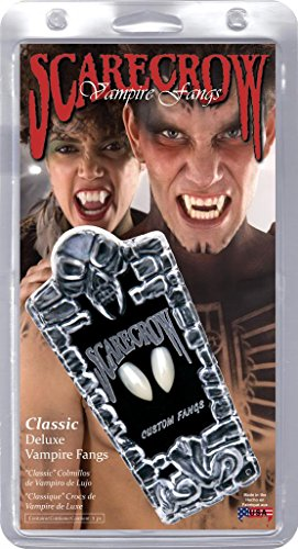 Scarecrow Adult Unisex  Deluxe Vampire Fangs, White, Includes Puddy Glue, One Size, (Scarecrow Vampire Fangs)