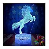 Unicorn Gift Kids Night Light for Christmas 3D Night Light Horse Gifts Led Illusion Lamps Birthday Gifts for Girls Home Decor Office Bedroom Party Decorations 7 Color Crackle White Base