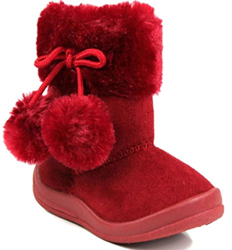 Kali Footwear Little Girl's Bany Flat  Pom Pom Ankle Boot, Red 10 (Red Flat Boots)