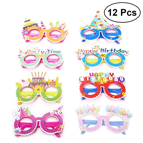 TOYMYTOY Happy Birthday Glasses Paper Party Eyeglasses Frames Novelty Decoration Photo-Booth Prop Party Supplies,12pcs]()