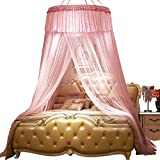 Extra large size round hoop bed canopy netting mosquito net fit crib,Twin,Full,Queen,King-pink 200x200cm(79x79inch)