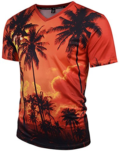 PIZOFF Unisex Short Sleeve V-Neck 3D Miami Sunset and Trees Print Breathable Slim T-Shirt Y1781-09-S (Best Sunset In Miami)