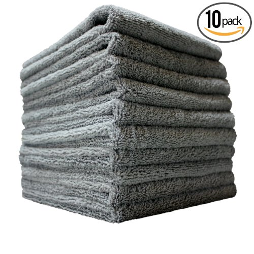 (10-Pack) THE RAG COMPANY 16 in. x 16 in. Professional EDGELESS 365 GSM Premium 70/30 Blend METAL POLISHING & DETAILING Microfiber Towels THE MINER