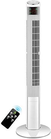 Opinión sobre FHDF Ventilador de Torre Oscilante con Función de Control Remoto, Ajustable Climatizador Portatil Frio Temporizador de 12 Horas Funcionamiento Silencioso, Dormitorio La Oficina (Blanco, 45W)