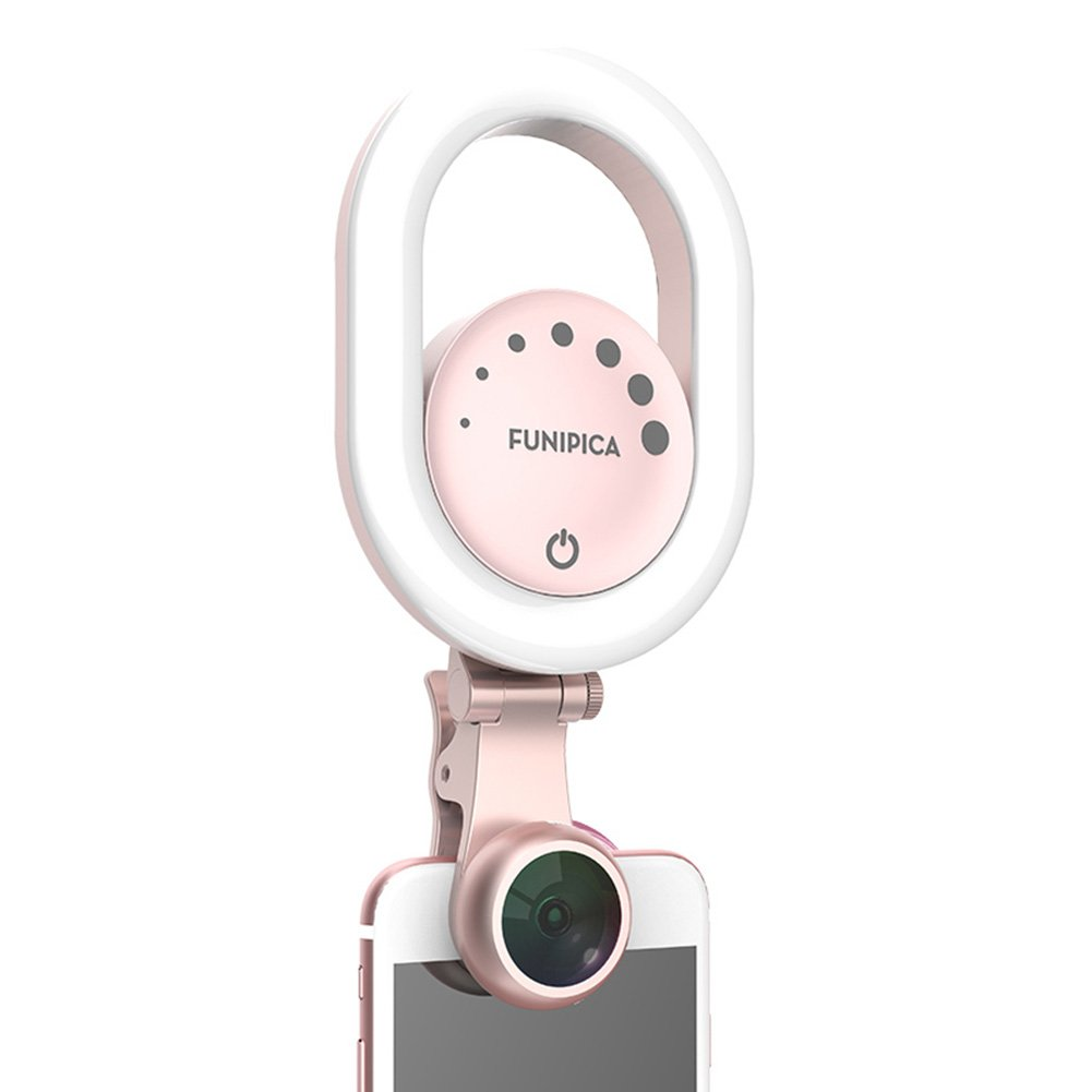 HaloVa Selfie Light, Rechargeable Clip-on Selfie LED Camera Light, Portable Photography Fill Light with Wide-angle Microspur Lens 3 Light Mode 7-Level Brightness for iPhone Samsung etc, Pink
