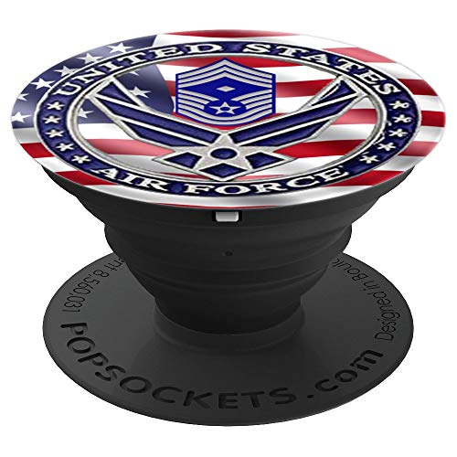 Proud US Air Force show flag a branch 1st Chief Master Sgt - PopSockets Grip and Stand for Phones and Tablets Chief Master Of The Air Force