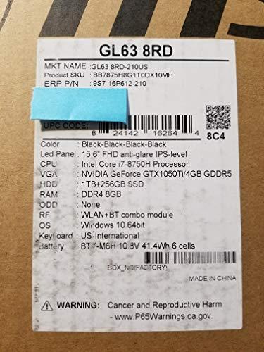 MSI GL63 Gaming Laptop PC 256GB SSD +1TB HDD - 6 Core i7-8750H - 8GB DDR4 RAM - Geforce GTX1050ti...