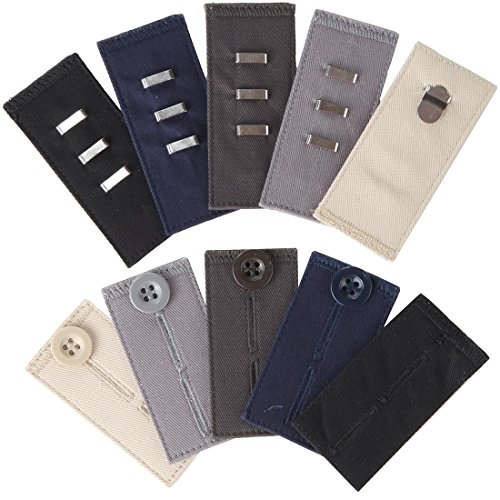 Home-X Easy Fit Hooks & Buttons for Slacks, Waistband Extenders to Give You a More Relaxed Feel, 5 Color Set (1/2