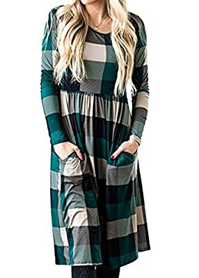 Just Model Women Plaid Peplum Midi Dress Long Sleeve Fall Winter Casual Vintage T-Shirt Blouse Dress With Pocket