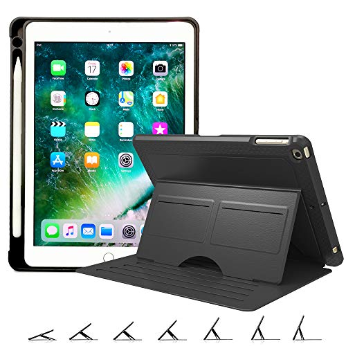 BMOUO Magnetic Case for New iPad 9.7 2018/2017 (5th and 6th Gen) with Pencil Holder - Auto Wake/Sleep Multiple Viewing Angle Strong Magnetic Stand Case for New iPad 9.7 inch Latest Model - Black