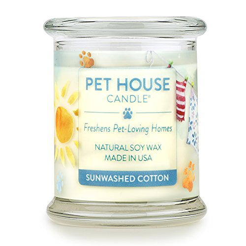 One Fur All 100% Natural Soy Wax Candle, 20 Fragrances - Pet Odor Eliminator, Appx 60 Hrs Burn Time, Non-toxic, Eco-Friendly Reusable Glass Jar Scented Candles - Pet House Candle, Sunwashed Cotton