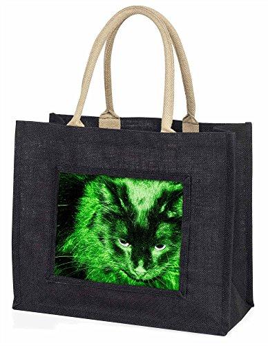 Advanta–Große Einkaufstasche Smaragd Night Lights Cat Große Einkaufstasche Weihnachtsgeschenk Idee, Jute, schwarz, 42x 34,5x 2cm