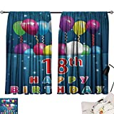 18th Birthday Curtain for Living Room Party Time with Colorful Flying Balloons on Star Like Backdrop Happiness Modes Darkening Curtains Blue and White W55 x L39