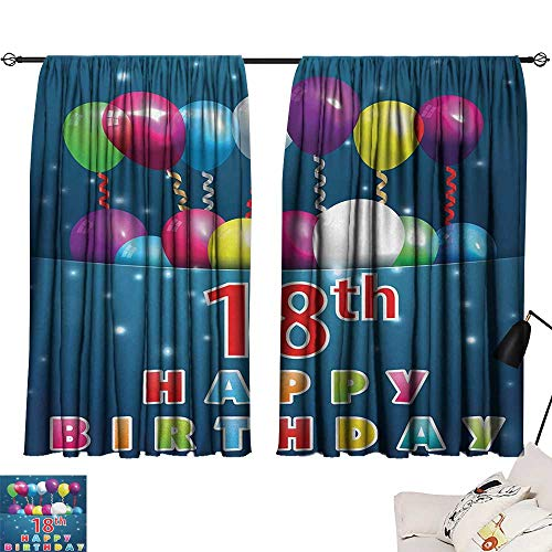 18th Birthday Curtain for Living Room Party Time with Colorful Flying Balloons on Star Like Backdrop Happiness Modes Darkening Curtains Blue and White W55 x L39 by Jinguizi (Image #6)