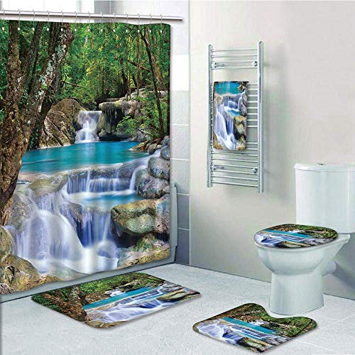 (Bathroom Fashion 5 Piece Set shower curtain 3d print,Waterfall,Fairy Image of Asian Waterfall by the Rocks in Forest Secret Paradise Decorative,Green Blue Borwn,Bath Mat,Bathroom Carpet Rug,Non-Slip,B)