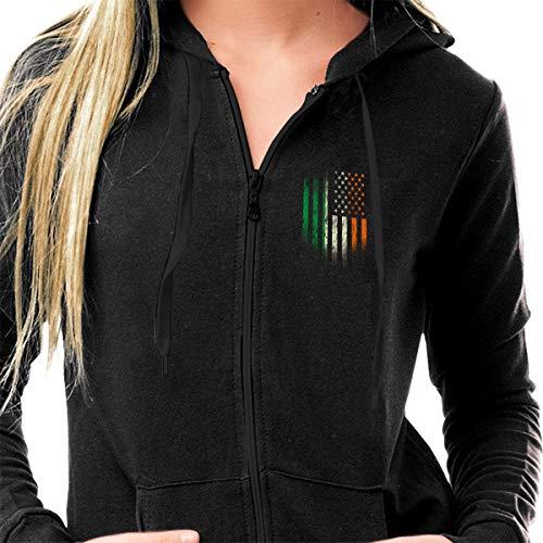(HIPSTER STYLE Women Casual Zip Up Fleece Hoodies Tunic Sweatshirt Hoodie Jacket Black - Irish Americans Flag)