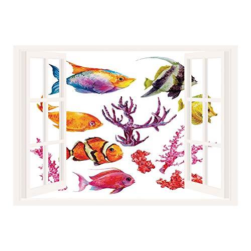 SCOCICI 3D Depth Illusion Vinyl Wall Decal Sticker/Ocean Decor,Illustration of Tropical Fish Seaweed Coral Algae and Jellyfish Oceanic Wild Life,Orange Purple/Wall Sticker Mural