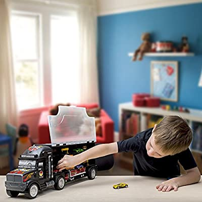 Big Daddy Tractor Trailer Car Collection Case Carrier Transport Toy Truck for Kids Includes 6 Cars + Accessories: Toys & Games