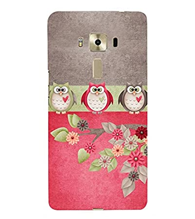 Fiobs Designer Back Case Cover for Asus Zenfone 3 Laser ZC551KL  5.5 Inches   Owl Animated Bat Animal Dark Cool Flowers Beautiful  Cases   Covers