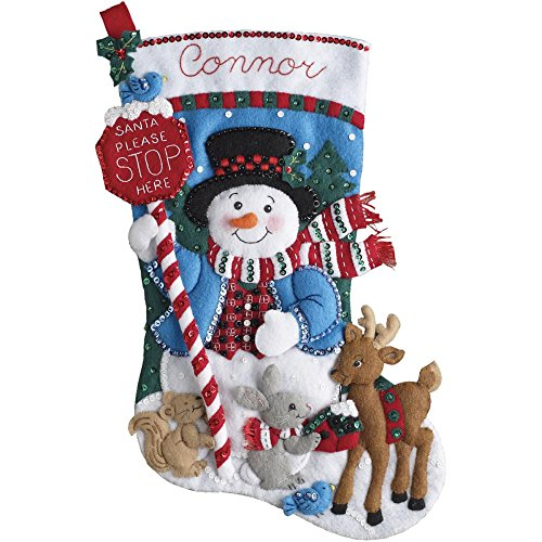 Bucilla Felt Applique Stocking Kit (18-Inch), 86707 Santa Stop Here by Bucilla