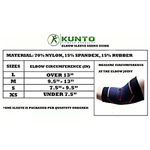 Kunto Fitness Elbow Brace Compression Support Sleeve for Tendonitis, Tennis Elbow, & Golf Elbow Treatment - Reduce Joint Pain During ANY Activity! (Large)