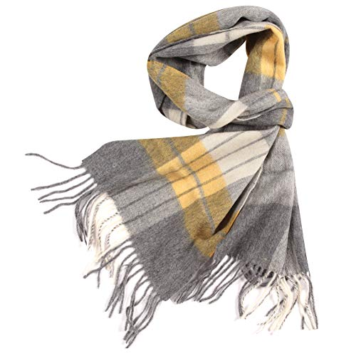 (WAMSOFT 100% Wool Scarf, Men Women Premium Wool Check Plaid Scarves Soft Cashmere Feel Elegant Long Large Scarf Birthday Present(1 Pack-Gold Camel Plaid))