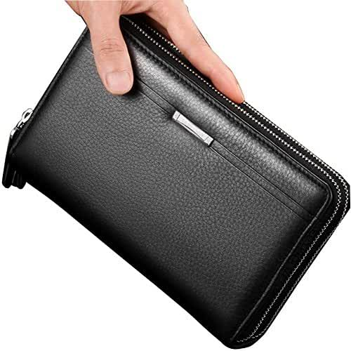 Sllybo Men Clutch Bag Business Handbag Wallet Organizer Zipper Checkbook Wrist Bag