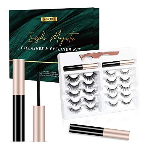 Unsichtbare Magnetische Wimpern und Eyeliner-Kit, Lanciley 10 Paar Magnetische Wimpern mit 2 Eyeliner, Wasserdichte falsche Wimpern ultraleicht, einfach zu bedienen, Natürlich & Wiederverwendbar