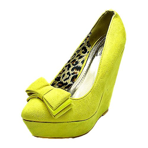 Ladies Suedette Platform wedge Heel Bow Toe Court Shoes Yellow RhKfT