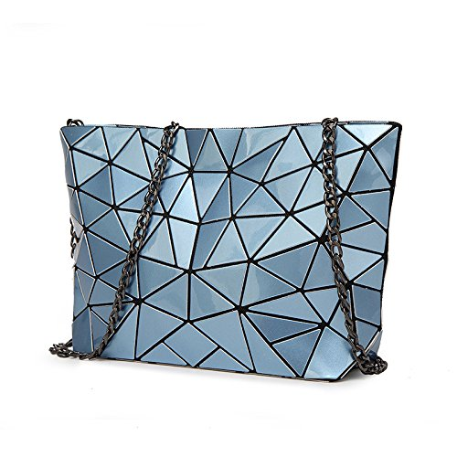 HAOXIAOZI Moda Lingge Geométrica Bolso De La Perla Bolsa De Hombro Femenina Bolsa Plegables Costura Messenger Bag Azul