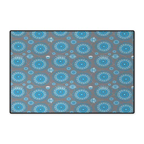 Lace,Doormat,Shabby Chic Traditional Circular Swirled Floral Ethnic Moroccan Pattern,Bath Mat for Tub Bathroom Mat,Azure and Baby Blue Grey (Brick Chic Tub)