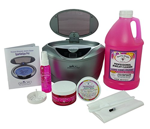 GEMORO 1791 SPARKLE SPA PRO SLATE GRAY ULTRASONIC LUXURY JEWELRY CLEANING KIT Includes Sparkle Bright All-Natural Jewelry Cleaner - Remove Does Polishing Scratches