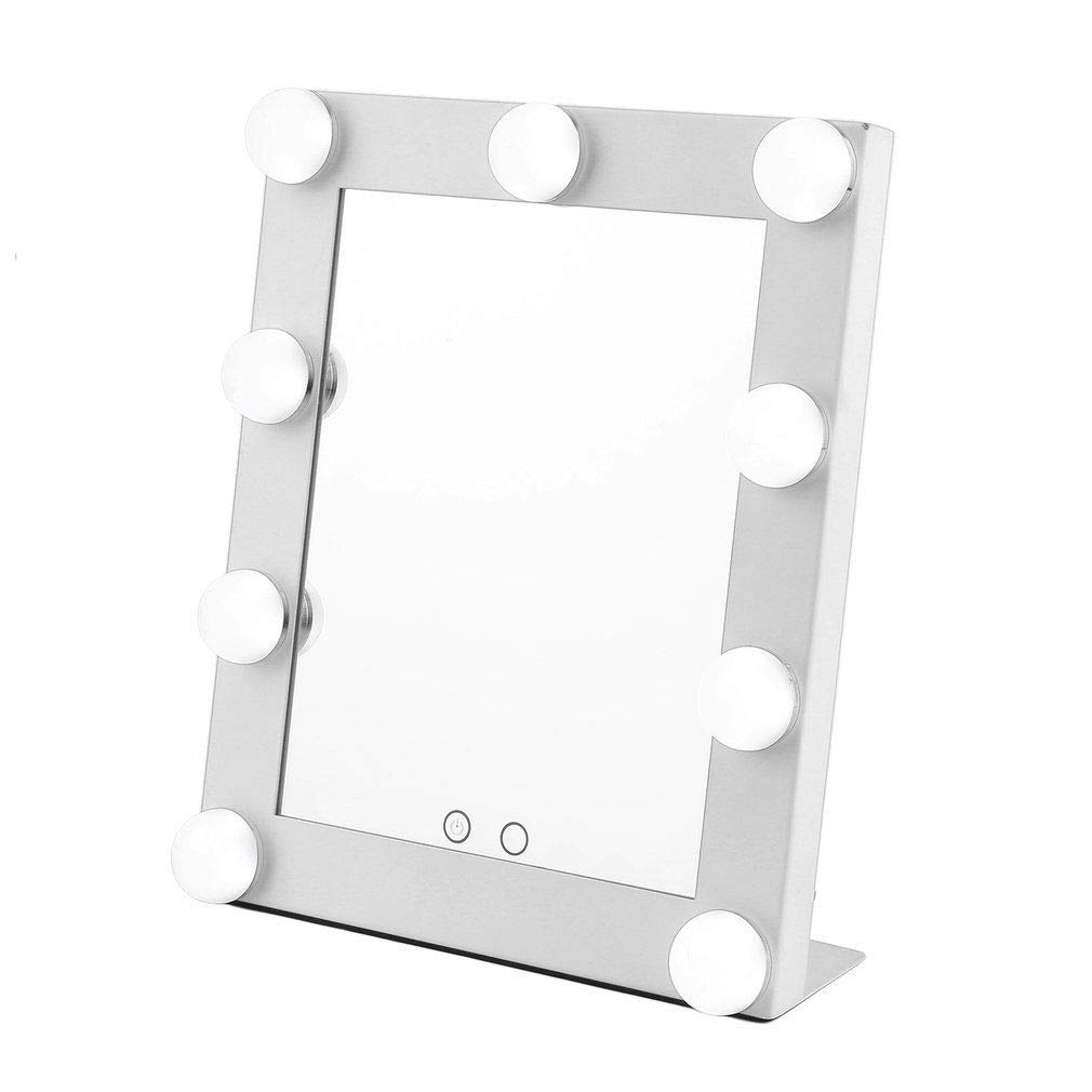 LED 9 Bulbs Vanity Lighted Hollywood Makeup Mirror with Dimmer Stage Smart Touch Screen desktop cosmetic Mirror &Two Power Supply Mode,Batteries not Included--Adjustable Brightness (White)