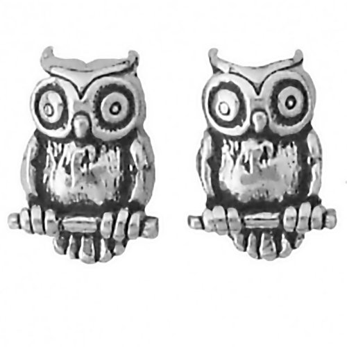 Corinna-Maria 925 Sterling Silver Owl Earrings Studs Tiny Mini Stainless Steel Posts and Backs
