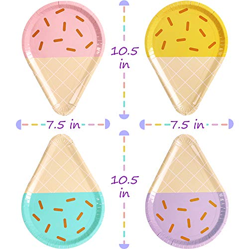Cute Sundae Party Supplies for Kids Boys Girls Toddlers 10 Disposable Paper Plates Ice Cream Party Plates Serves 24 Birthday Baby Shower Decorations