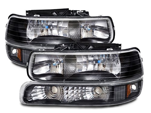 Silverado 1 Piece Headlight (Chevy Silverado/Tahoe Halogen-Type Xenon Black 4-Piece Headlights Set)