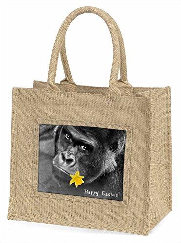 Advanta Happy Ostern Gorilla Große Einkaufstasche/Weihnachten Geschenk, Jute, beige/natur, 42x 34,5x 2cm