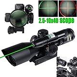 Vokul® 2.5-10x40 Tactical Rifle Scope Dual illuminated Mil-dot w/ Rail Mount-Shockproof, Waterproof, Fogproof
