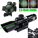 Vokul® 2.5-10x40 Tactical Rifle Scope Green Laser Dual illuminated Mil-dot w/ Rail Mount-Shockproof, Waterproof, Fogproof