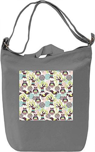 Owl Print Borsa Giornaliera Canvas Canvas Day Bag| 100% Premium Cotton Canvas| DTG Printing|