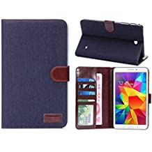 Hica Samsung Galaxy Tab 4 7.0 Case,Folding Auto Sleep/Wake Feature Multi-slot Magnetic Flip Denim Texture Pattern PU Leather Cover Case for Samsung Galaxy Tab 4 7.0 SM-T230 (Black)