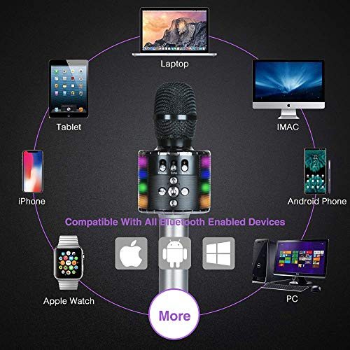 Wireless Bluetooth Karaoke Microphone with Multi-color LED Lights, 4 in 1 Portable Handheld Home Party Karaoke Speaker Machine for Android/iPhone/iPad/Sony/PC (Space gray) … by Fifth Avenue-Store (Image #4)
