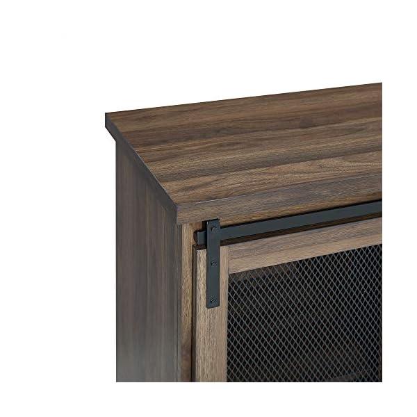 Walker Edison Furniture Industrial Farmhouse Buffet Entryway Bar Cabinet Storage, 32 Inch, Walnut Brown