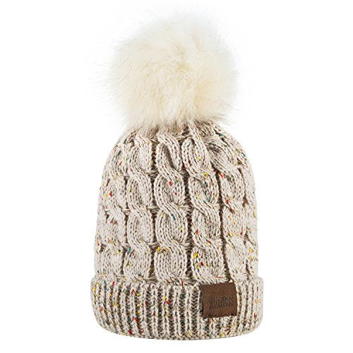 Kids Winter Warm Fleece Lined Hat, Baby Toddler Children's Beanie Pom Pom Knit Cap for Girls and Boys by REDESS (A Confetti Cream White Design)