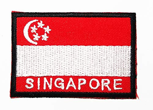 - National Flag Republic of Singapore Island Country Asia Logo Patch Embroidered Sew Iron On Patches Badge Bags Hat Jeans Shoes T-Shirt Applique