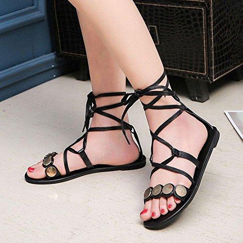 Frau Sandalen flache Schuhe mit flachen Schuhen Paillettenbänder Rom black